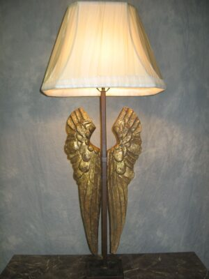 Ferro Designs LLC custom iron table lamp with a dark iron base and a linen lamp shade.