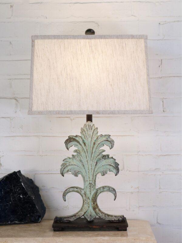 Custom iron table lamp, acanthus, iron base, patina green finish, linen lamp shade