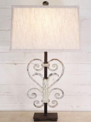 Heart scroll custom iron table lamp