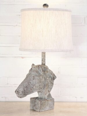 Horse head custom iron table lamp with a 12 inch linen drum lamp shade.