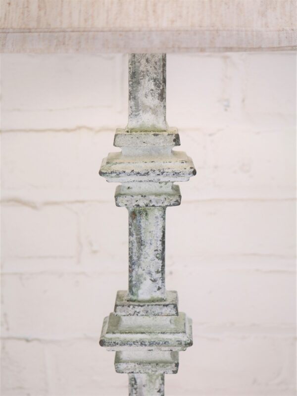 Square collar custom iron table lamp with a white, distressed finish.