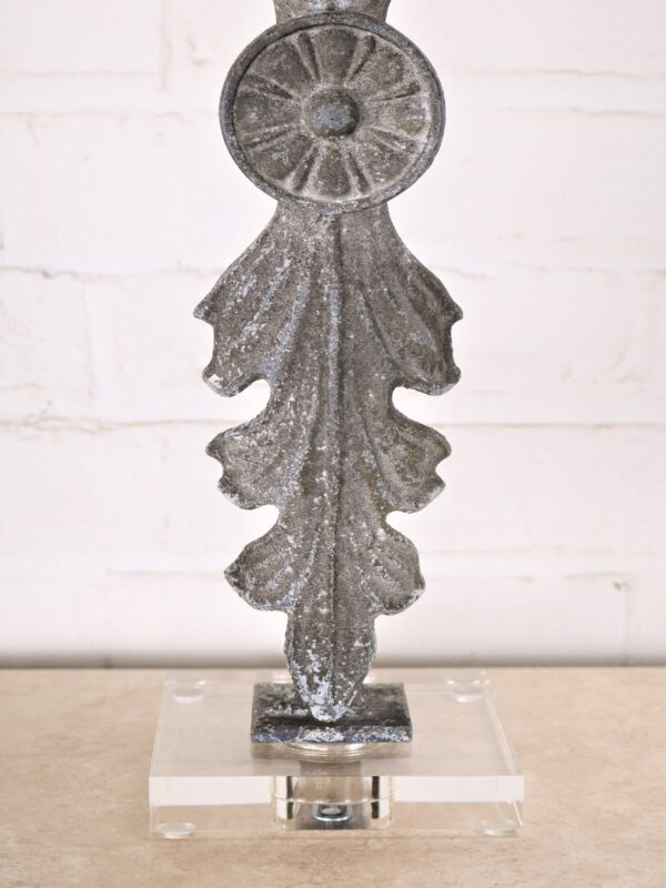 Leaf custom iron table lamp with a gray, distressed finish on an acrylic base.
