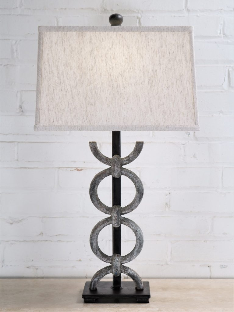Rings custom iron table lamp with a gray, distressed finish and a dark iron base. Paired with a 14 inch rectangle linen lamp shade.