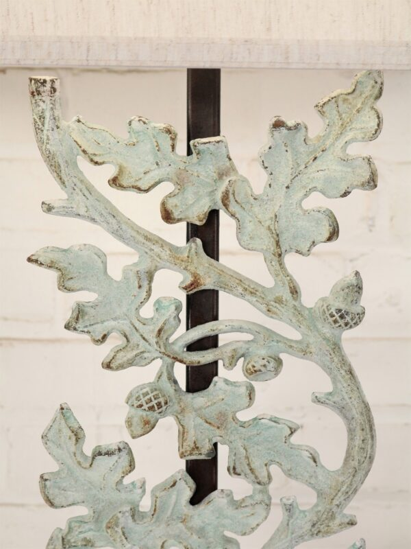 Oak leaves custom iron table lamp with a patina green finish.