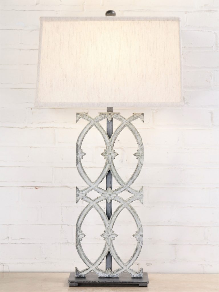 Cathedral custom iron table lamp with a white, distressed finish and a pewter base. Paired with a 17 inch rectangle linen lamp shade.