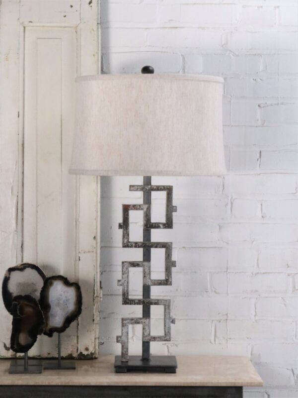 Small Greek key custom iron table lamp with a white, distressed finish and a pewter base. Paired with a 15 inch linen drum lamp shade.