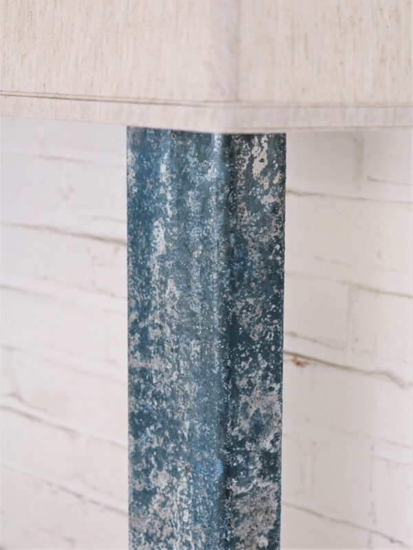 Rectangle column custom iron table lamp with a blue, distressed finish.