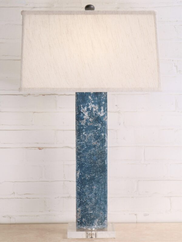 32 inch tall rectangle column custom iron table lamp with a blue, distressed finish and an acrylic base. Paired with a 17 inch rectangle linen lamp shade.