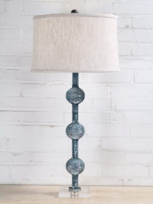 33 inch tall spheres custom iron table lamp with a blue, distressed finish and an acrylic base. Paired with a 15 inch drum linen lamp shade.
