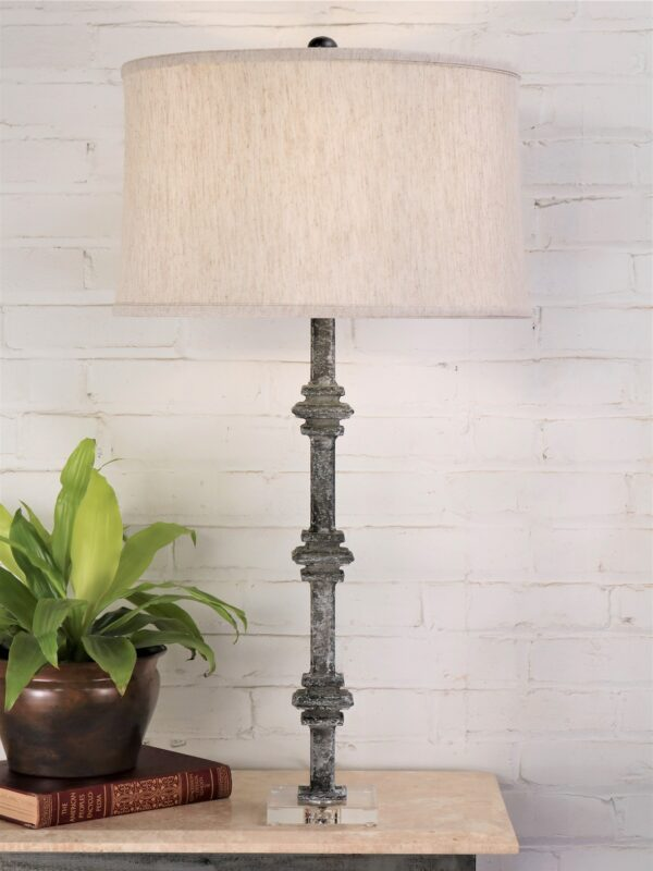 33 inch tall square collar custom iron table lamp with a gray, distressed finish and an acrylic base. Paired with a 15 inch linen drum lamp shade.