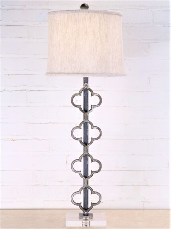 Quattuor custom iron table lamp with a gray, distressed finish and an acrylic base. Paired with a 12 inch linen drum lamp shade.