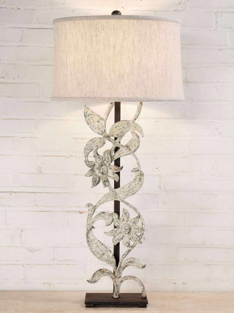 Sunflower custom iron table lamp with a white, distressed finish and a dark iron base. Paired with a 17 inch linen drum lamp shade.