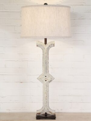Diamond column custom iron table lamp with a white, distressed finish and a dark iron base. Paired with a 17 inch linen drum lamp shade.