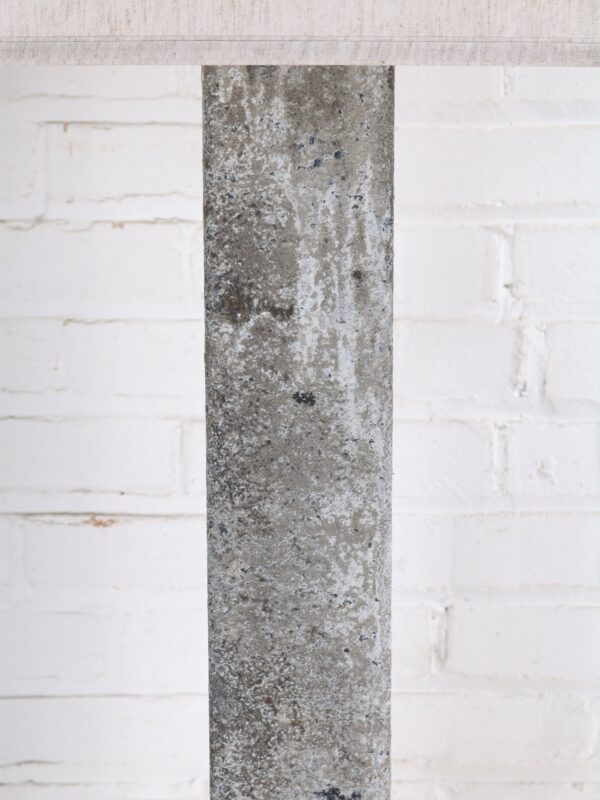 Rectangle column custom iron table lamp with a gray, distressed finish.