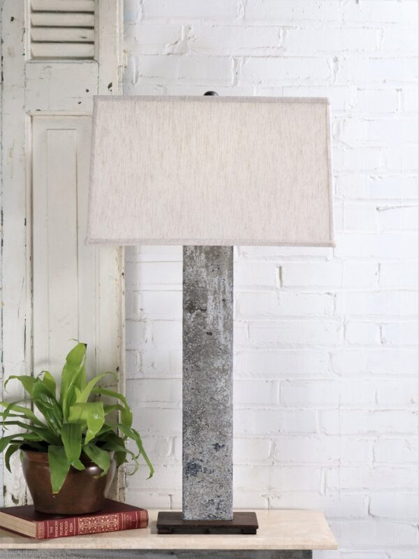 37 inch tall rectangle post custom iron table lamp with a gray, distressed finish and a dark iron base. Paired with a 19 inch rectangle linen lamp shade.