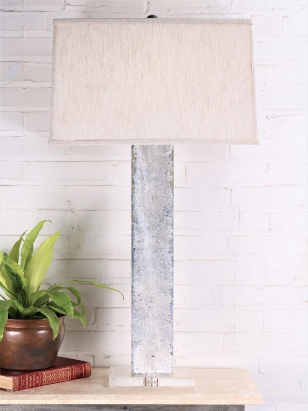 37 inch tall rectangle column custom iron table lamp with a white, distressed finish and an acrylic base. Paired with a 19 inch rectangle linen lamp shade.