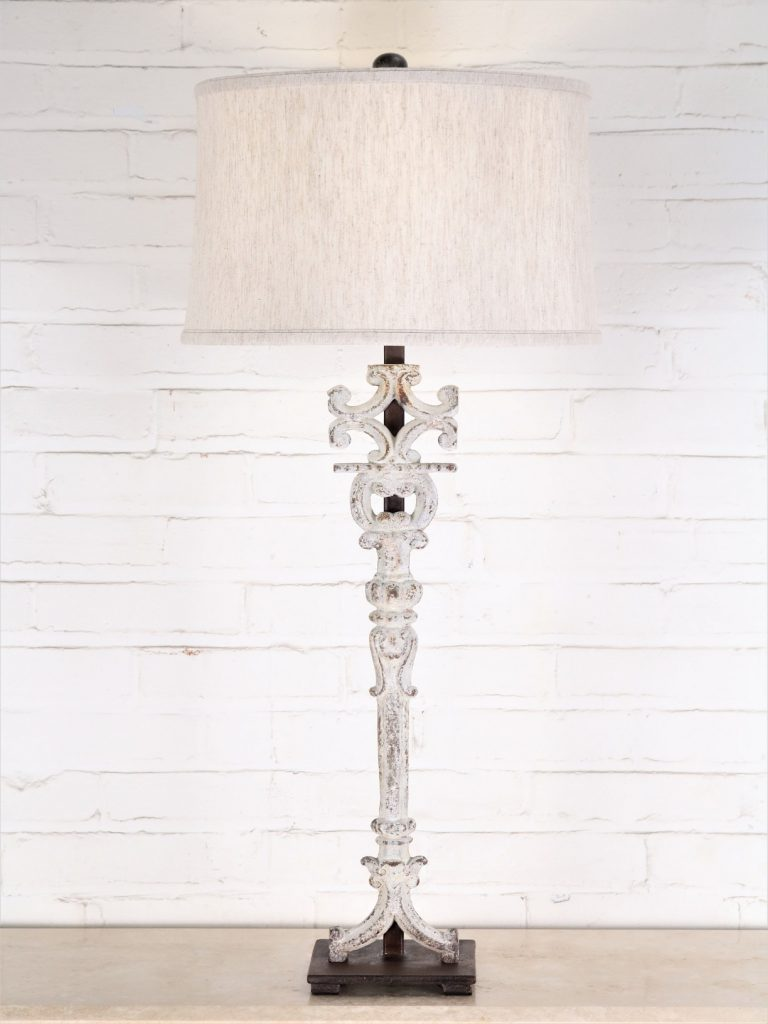 Corinthian column custom iron table lamp with a white, distressed finish and a dark iron base. Paired with a 15 inch linen drum lamp shade.