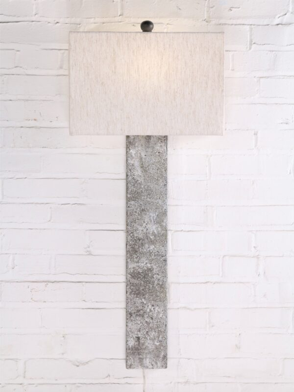 Rectangle post custom iron wall sconce with a gray, distressed finish. Paired with a half rectangle linen lamp shade.