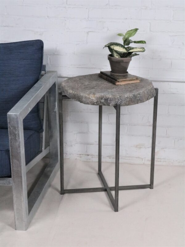 Ferro Designs LLC custom iron faux bois drink table or end table with a steel base finish.