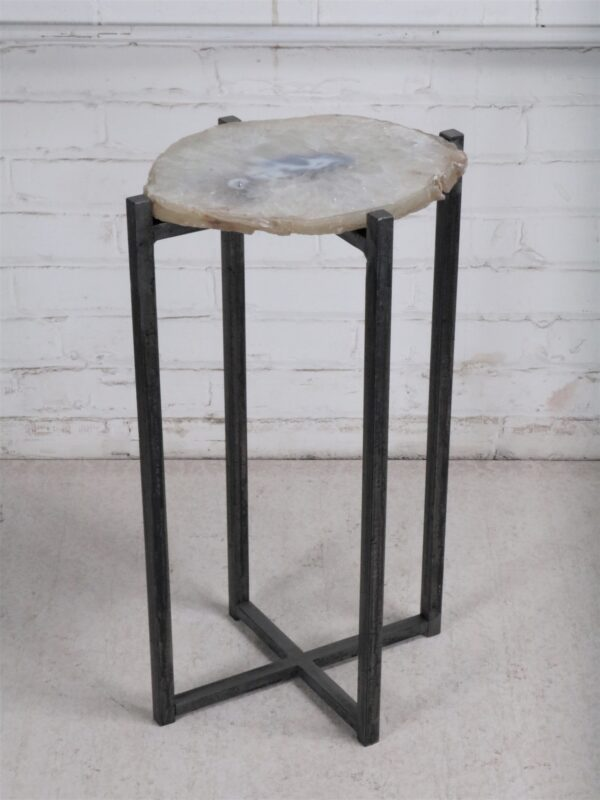 Ferro Designs LLC custom iron drink table or end table with a steel base finish and an agate slice top.