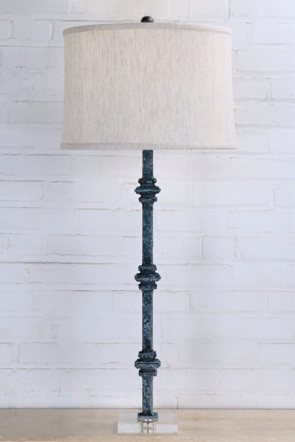 38 inch tall square collar custom iron table lamp with a blue, distressed finish and an acrylic base. Paired with a 17 inch linen drum lamp shade.