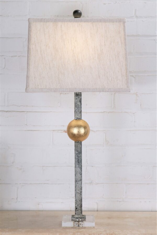 Gold leaf ball custom iron table lamp with a white, distressed finish and an acrylic base. Paired with a 14 inch linen rectangle lamp shade.
