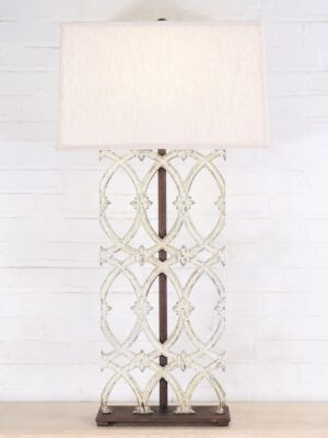 Ferro Designs LLC custom iron table lamp with a white, distressed finish and a dark iron base. Paired with a 19 inch rectangle linen lamp shade.