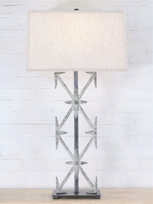 Ferro Designs LLC custom iron table lamp with a white, distressed finish and a pewter base. Paired with a 19 inch rectangle linen lamp shade.