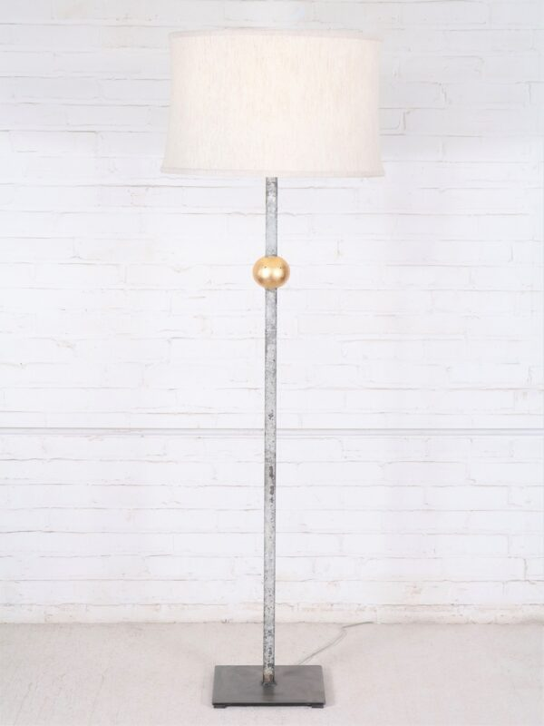 Gold ball custom iron floor lamp with a white, distressed finish and a gold leaf ball. Paired with a 19 inch linen drum lamp shade.