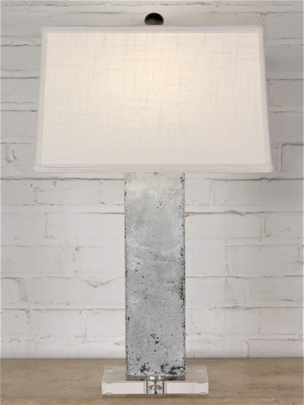 27 inch tall rectangle column custom iron table lamp with a white, distressed finish and an acrylic base. Paired with a 15 inch rectangle linen lamp shade.