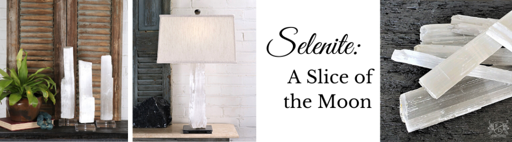 selenite crystal used in home decor and home lighting